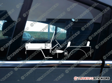2x Car Silhouette sticker - 1953 Willys Jeep CJ-3B vintage classic